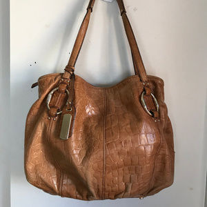 B. Makowsky Brown Croc Leather Shoulder Bag